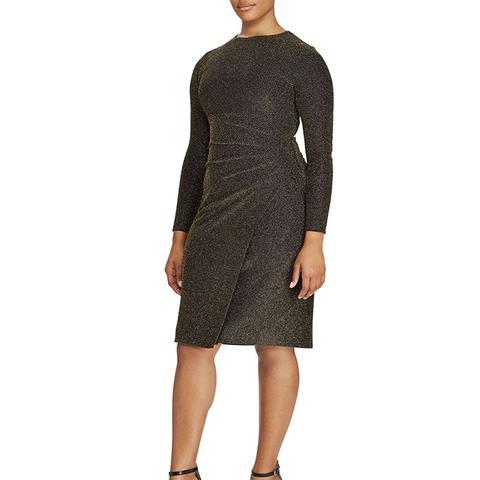 Metallic-Knit Faux-Wrap Dress