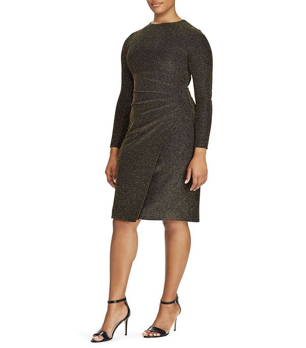 Metallic Knit Faux Wrap Dress