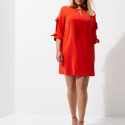 Plus Red Bow-Sleeve Shift Dress