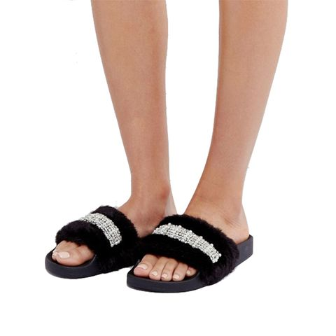 Faux Fur Embellished Sliders
