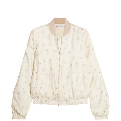 Jacque Floral-Printed Satin Bomber Jacket