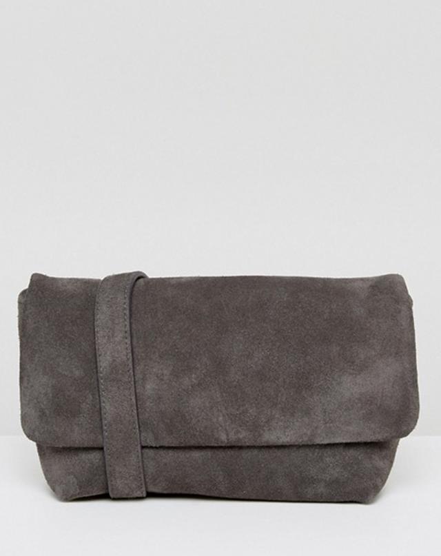 ASOS Vagabond Leather Bum Bag in Grey Suede