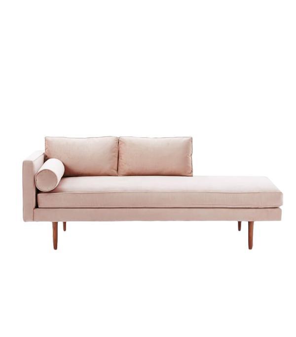 Monroe midcentury leather sofa beatnik leather sofa for Chaise interiors inc