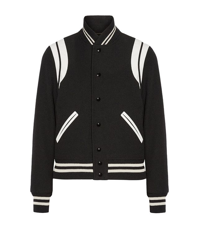 Teddy Leather-trimmed Wool-blend Bomber Jacket