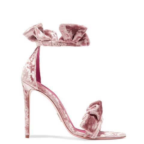Antoinette Ruffled Crushed-Velvet Sandals