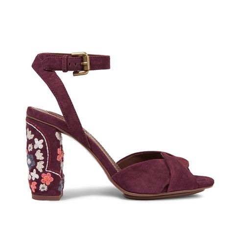 Embroidered Suede Sandals