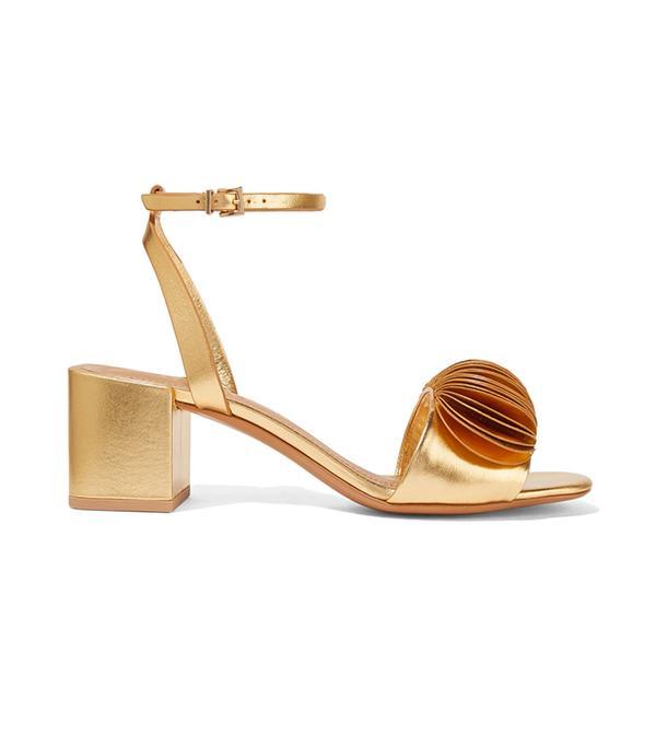 Riza Appliquéd Metallic Leather Sandals