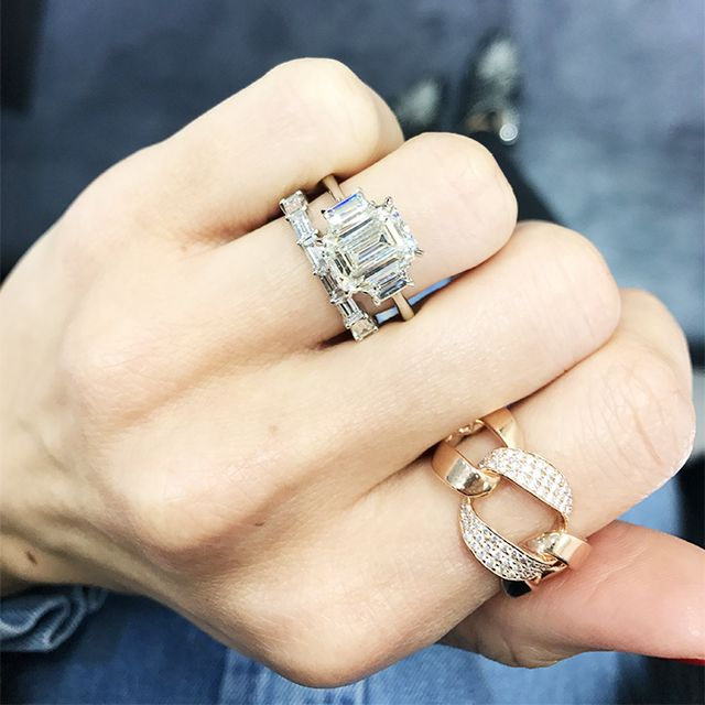 """Emerald cuts have very clean lines are perfect for a modern aesthetic,"" says Wegman. ""We love adding trapezoid side stones to make the overall ring appear larger, and they also create a very..."