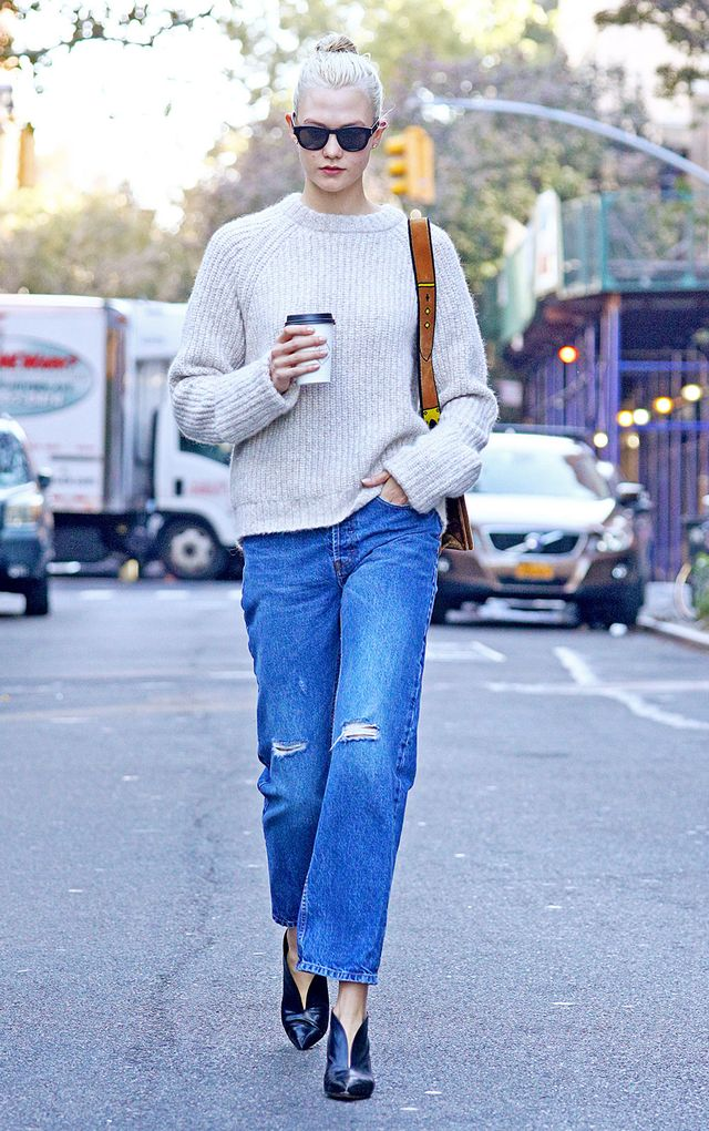 On Karlie Kloss: Prada Trompe L'oeil Velvet Cahier Bag ($2680); Céline shoes Similar Styles: Zara Cable Knit Sweater ($40); Madewell Slim Straight Jeans: Knee-Rip Edition...