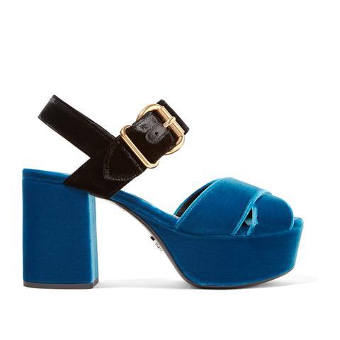 Two-Tone Velvet Platform Sandals