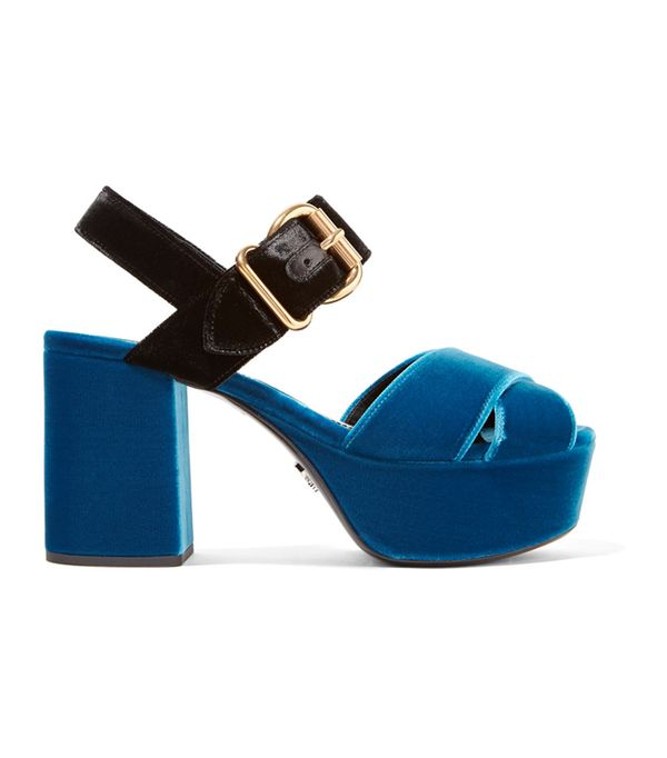 Best Velvet Clothing: Prada Two-Tone Velvet Platform Sandals