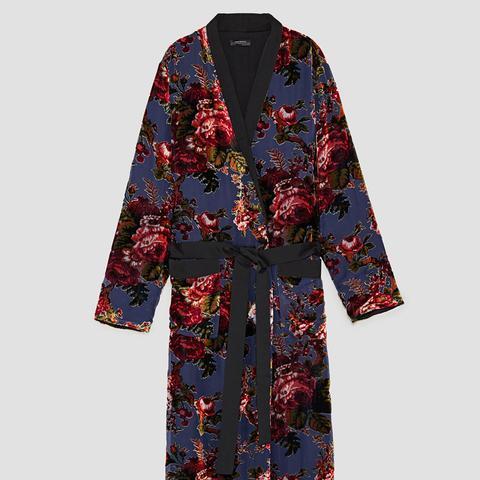 Contrasting Velvet Kimono