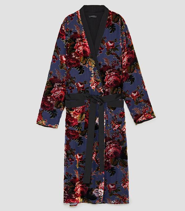 Best Velvet Clothing: Zara Contrasting Velvet Kimono