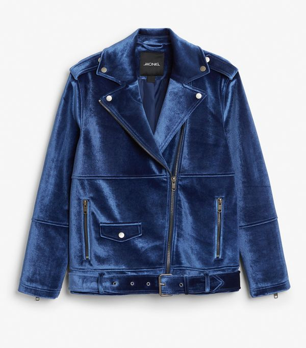 Best Velvet Clothing: Monki Velvet Biker Jacket