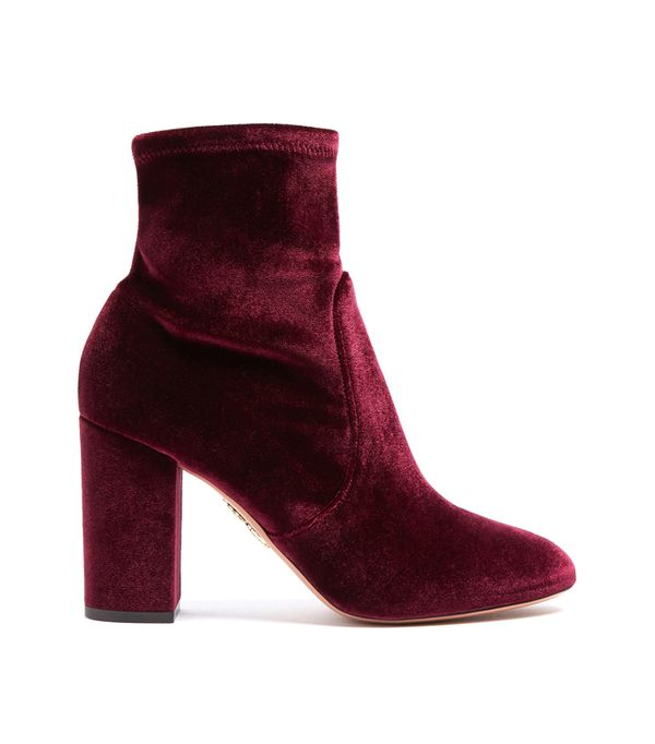 Best Velvet Clothing: Aquazurra So Me Velvet Ankle Boots