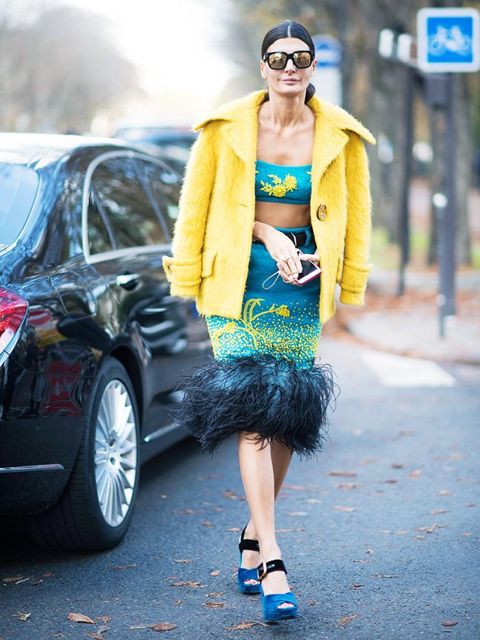 Best Velvet Clothing: Giovanna Battaglia wearing velvet Prada platforms