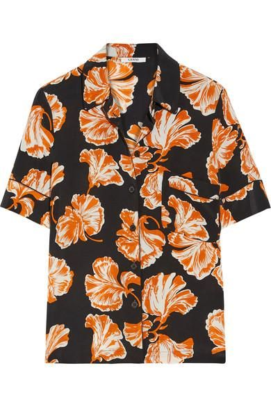 Geroux Printed Washed-silk Blouse