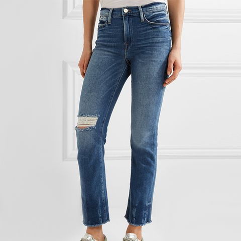 Le High Distressed Straight-leg Jeans