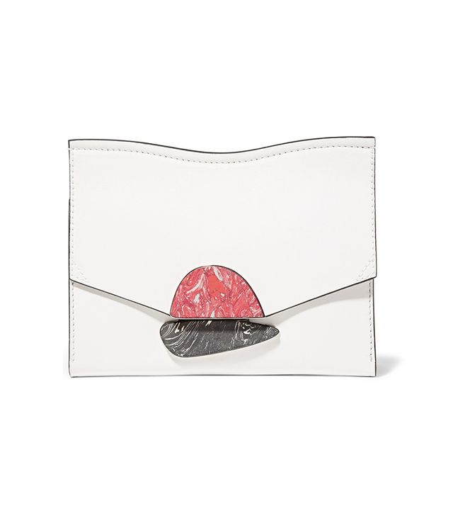Curl Embellished Leather Clutch