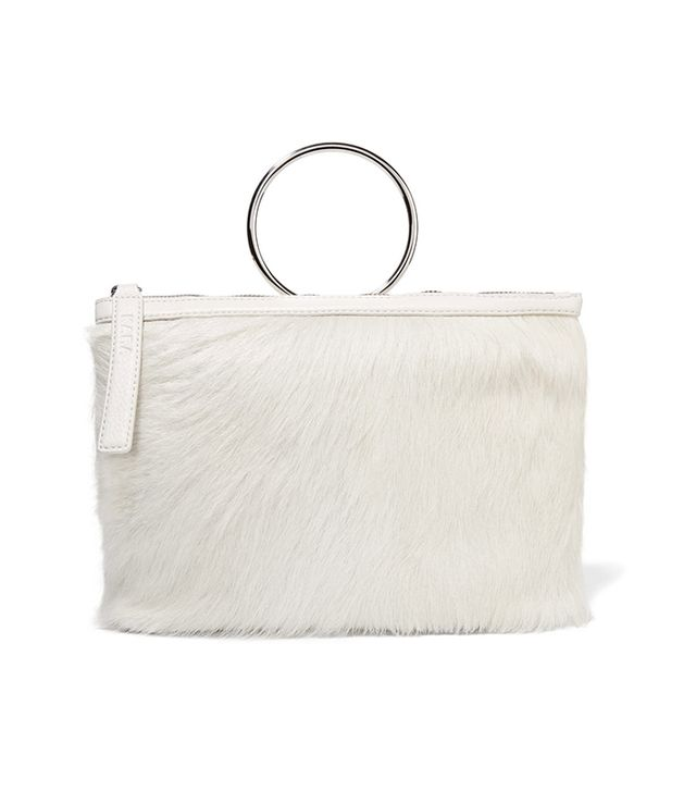 Ring Textured Leather-trimmed Calf Hair Clutch