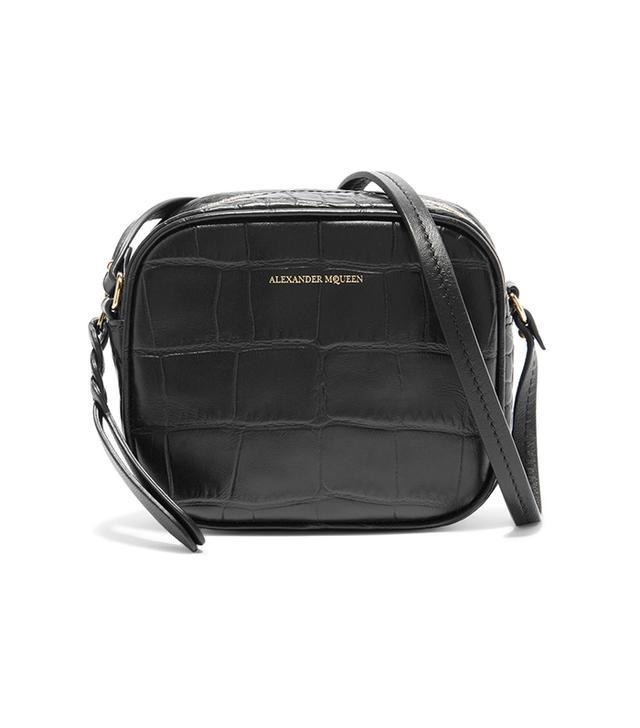 Croc-effect Leather Camera Bag