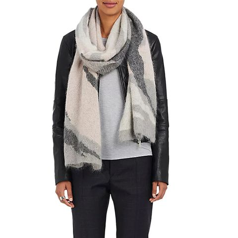Sinclair Camouflage Oversized Merino Wool-Blend Scarf