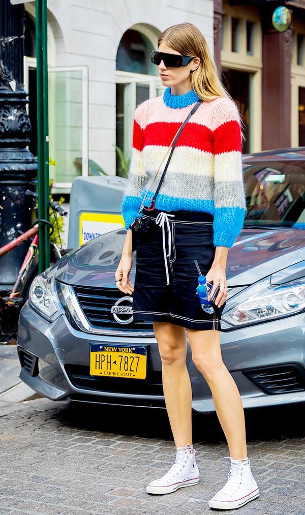 Sweater + Miniskirt + Converse