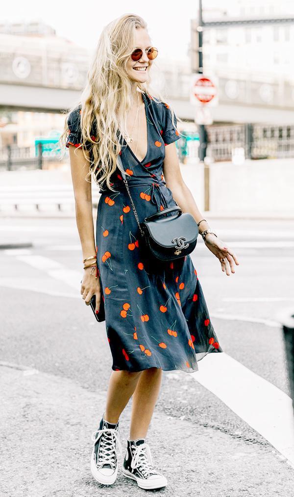 Wrap Dress + Crossbody Bag + Converse