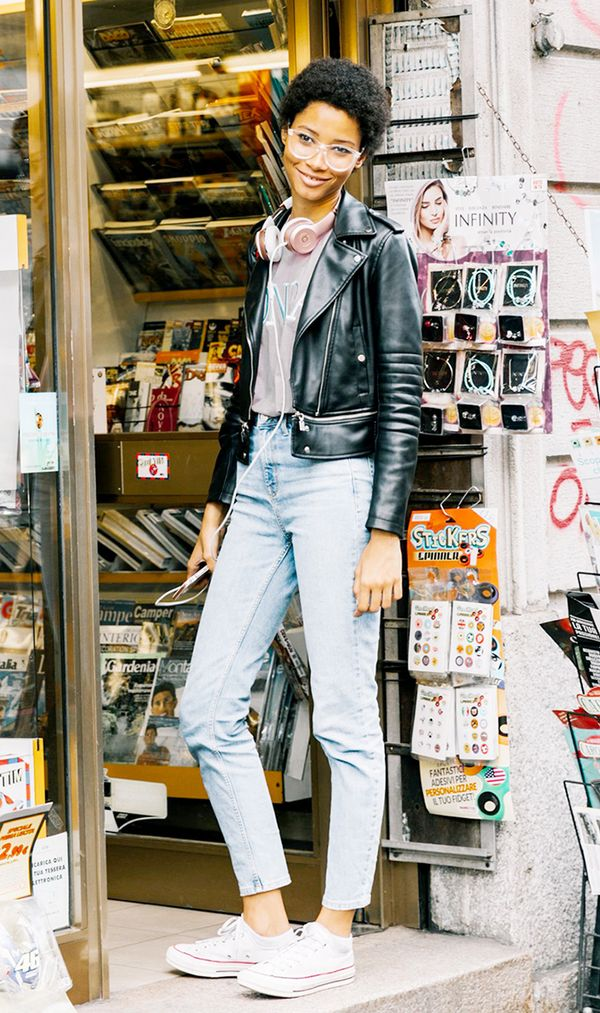Moto Jacket + T-Shirt + Skinny Jeans + Converse