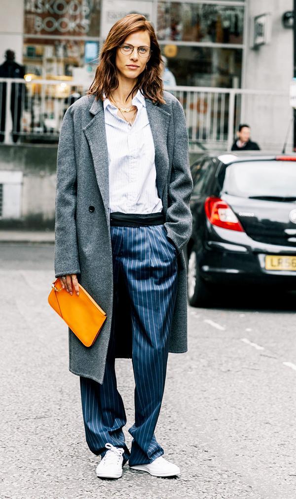 Coat + Button-Down + Trousers + Converse