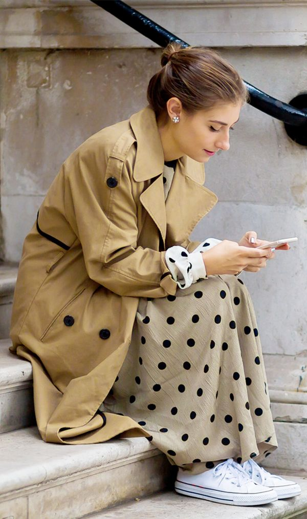 Trench + Printed Dress + Converse