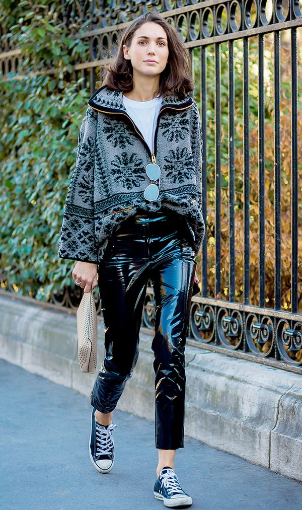 Sweater + Leather Pants + Converse