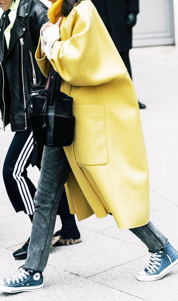 Colorful Coat + Skinny Jeans + Converse
