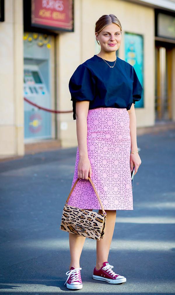Poplin Blouse + Midi Skirt + Converse