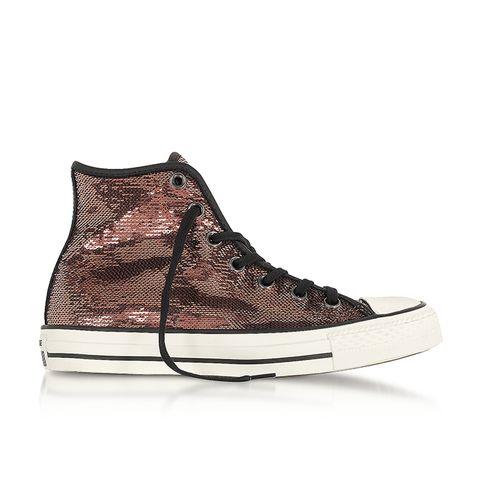 Chuck Taylor All Star High Distressed Ox Copper & Black Sequins Sneakers