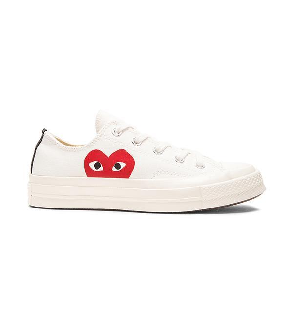 Large Emblem Low Top Canvas Sneakers