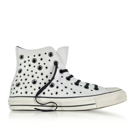 Chuck Taylor All Star High Distressed Pale Putty Leather Sneakers With Eyelets