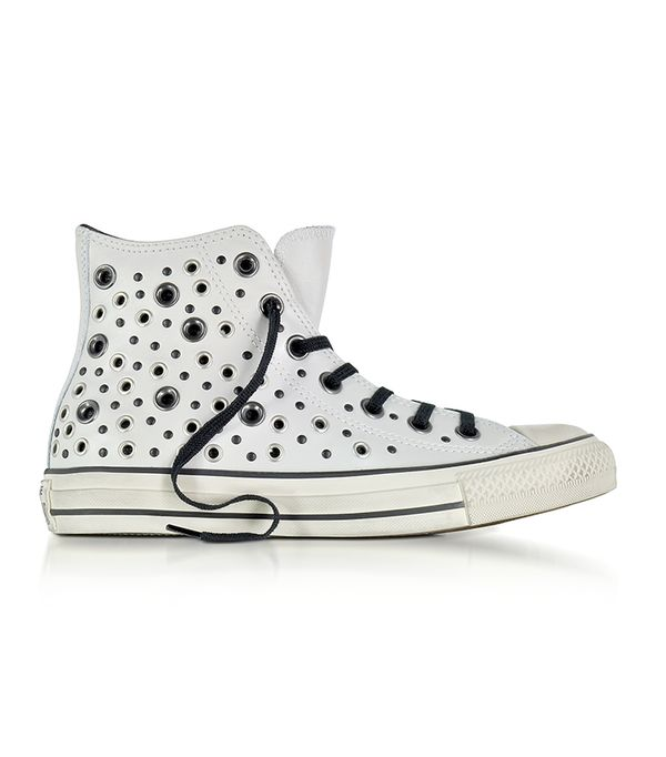 Designer Shoes, Chuck Taylor All Star High Distressed Pale Putty Leather Sneakers w/Eyelets