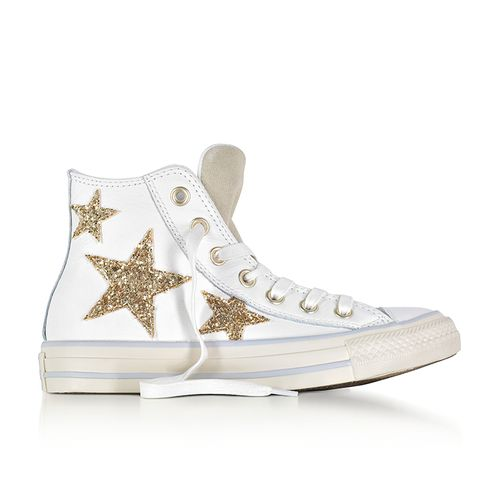 Chuck Taylor All Star High Curved Eyestay Leather Sneakers With Glitter Stars