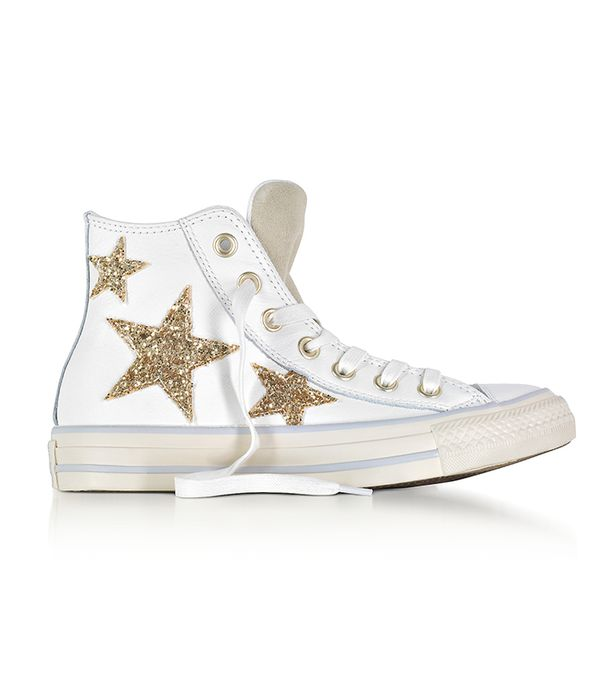 Designer Shoes, Chuck Taylor All Star High Curved Eyestay Leather Sneakers w/Glitter Stars