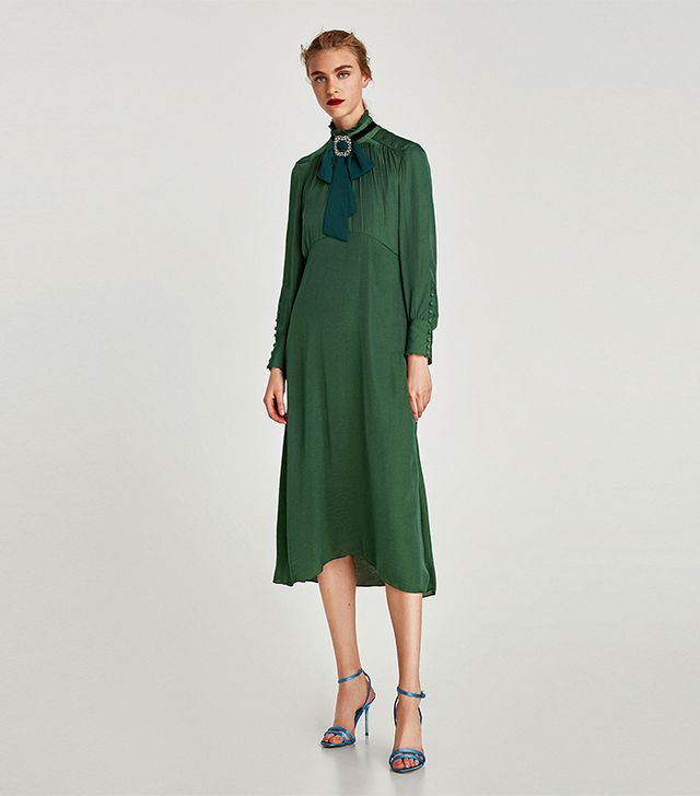 Zara Flowing Midi Dress With Long Sleeves
