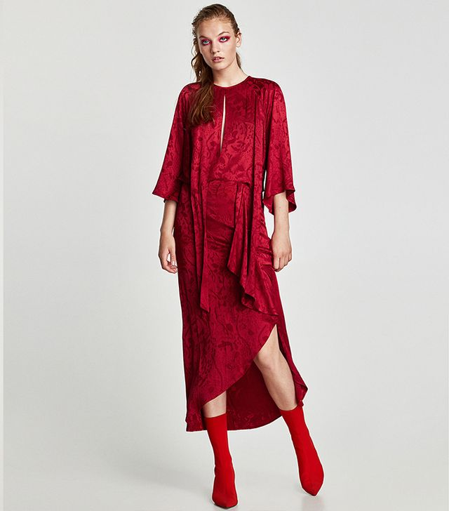 Zara Jacquard Midi Dress