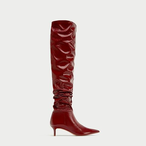 Gathered Leather Over-the-Knee High Heel Boots