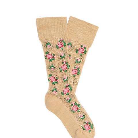 Floral-Intarsia Cotton-Blend Socks