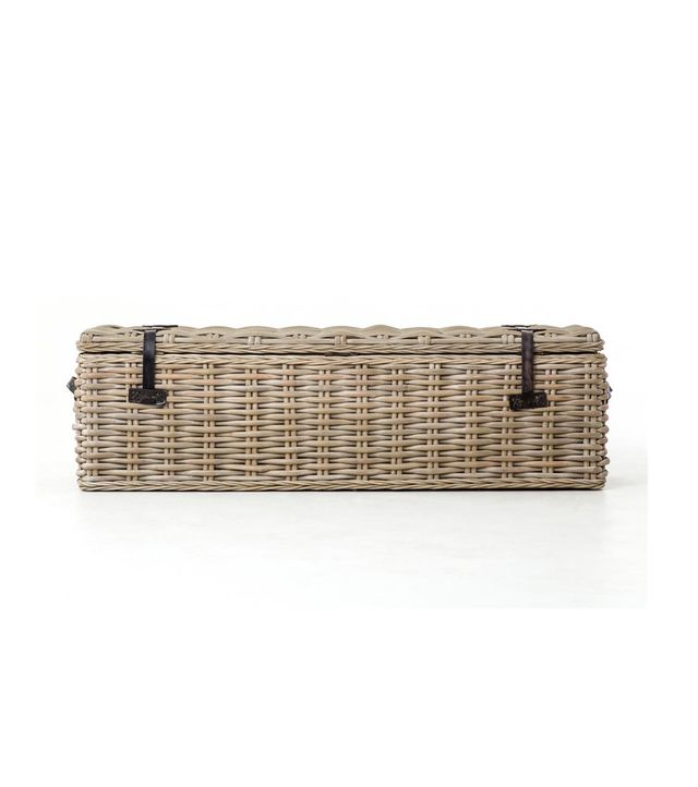 Kathy Kuo Home Brenna Global Bazaar Leather Accent Woven Rattan Trunk