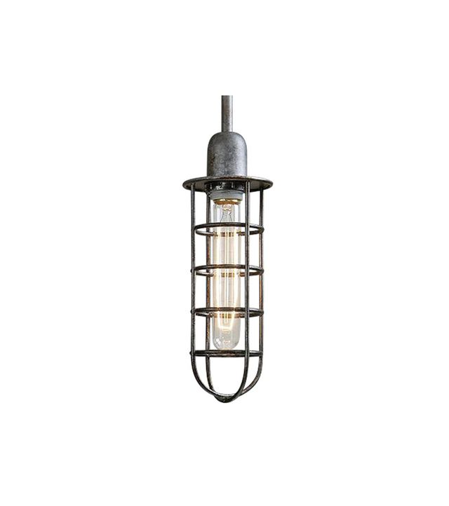 Kathy Kuo Home Jaydon Industrial Loft Antique Forged Metal Tubular Pendant