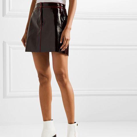 Glossed Wool-Blend Mini Skirt