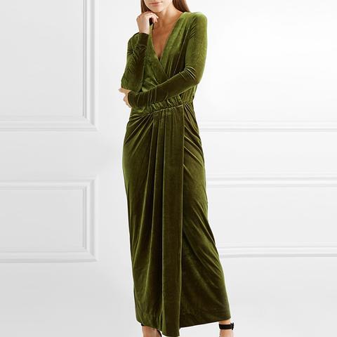 Milda Gathered Wrap-Effect Stretch-Velvet Maxi Dress