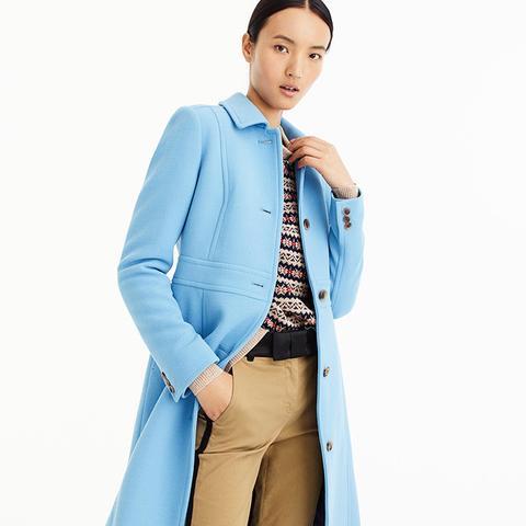 Italian Double-Cloth Wool Lady Day Coat in Cornflower Blue