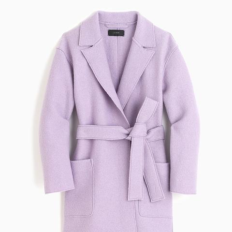 Wrap Coat in Boiled Wool in Majestic Purple